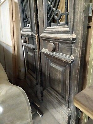 """TALL IRON GRILL DOORS with Carved Oak Medallions, 158"""" tall by 54"""" wide"""
