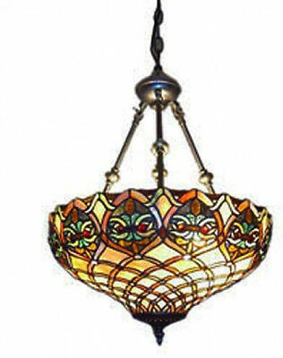 Baroque Hanging Lamp Tiffany Style 2 Light Vintage 60 Watt Amber Brown Green Red