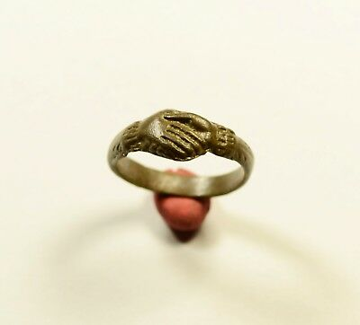 Rare ROMAN TO MEDIEVAL - Clasped Hands Ring-Wedding Ring - WEARABLE