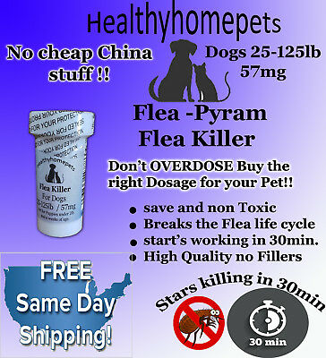 100 Capsules Instant Flea Killer Control for Dogs 25-125 lbs. 57MG QUICK RESULTS
