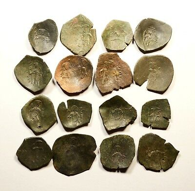 Lot Of 16 Ancient Byzantine Cup Coins - 043