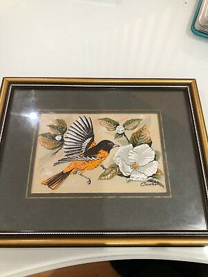 J&J CASH FRAMED WOVEN SILK  EMBROIDERY of a BALTIMORE ORIOLE VGC