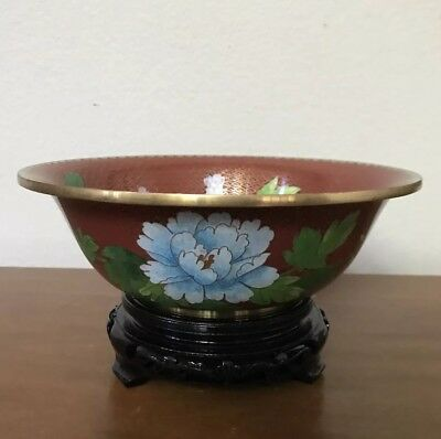 """Vintage Chinese Cloisonné Red Enamel Butterfly Flowers Bowl Planter 9"""""""