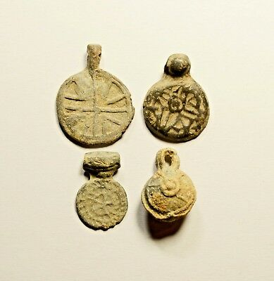 BYZANTINE - 10-11th century Lead Amulets - LOT OF 4