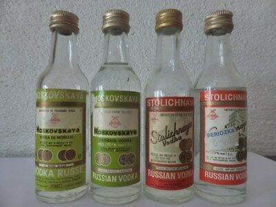 VODKA STOLICHNAYA lot de 4 mignonnettes collection old mini bottle