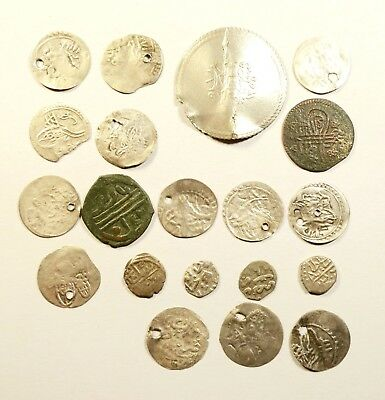 Lot Of 20 Ancient Silver & Copper Ottoman Islamic Turkey Coins 04