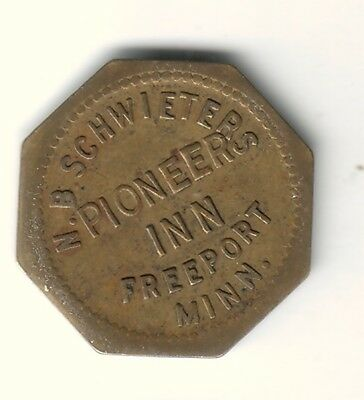 VINTAGE 10c BRASS TRADE TOKEN-N. B. SCHWIETER'S PIONEER INN FREEPORT MINNESOTA