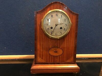 superb Edwardian satinwood cased with inlays clock