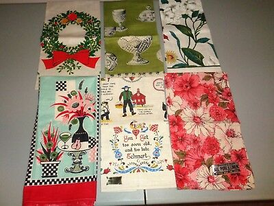 Vintage Kitchen Towels-Estate Lot-6 Different-Never Used- All Very Pretty-Nr