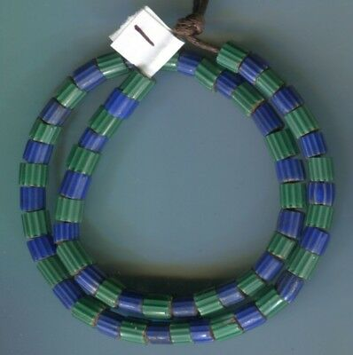 African Trade beads Vintage Venetian old glass 6 & 4 layer blue green chevrons