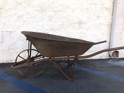 Antique Metal 8 Spoke Wheelbarrow Wheel Barrow WheelBarrow Farm Tool