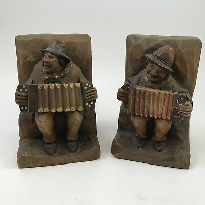 Vtg ANRI Carved Bookends Accordion Player Musician Wood Black Forest Type Men