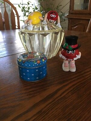 M&M Plastic Candy Dish Includes Small Tin Storage And Plastic Holiday Figure