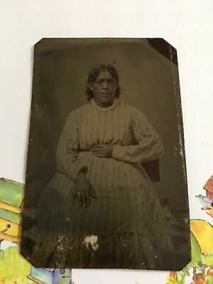 African American / Native American ? Gold Pendant & Ring Tintype 1800's Photo
