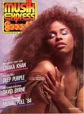 Musikexpress 2/1985 – Chaka Khan, Deep Purple, David Byrne, Die Ärzte, Spliff
