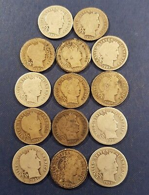 Lot of (14) Circulated Barber Dimes Mixed Dates