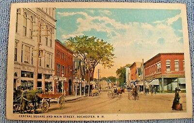 Postcard Central Square And Main Street - Rochester, New Hampshire