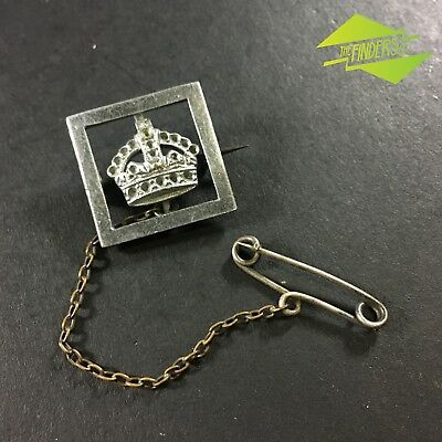 VINTAGE c.1930's BRITISH MONARCH CROWN LAPEL PIN WITH HANGER CHAIN
