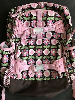 PBK Pottery Barn Kids girls LARGE BACKPACK pink & chocolate Geo Flowers