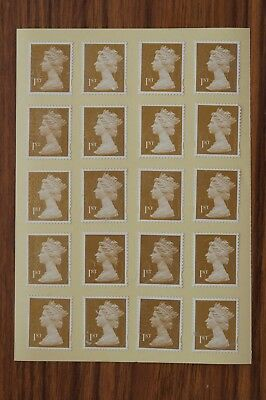 100 Gold Unfranked 1st First Class Stamps - Gummed - With Minor Faults