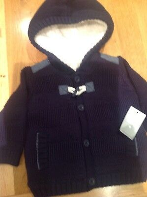 Baby Boys Navy Blue Knitted Cardigan/Jacket With Fleece Lining 3-6 Months