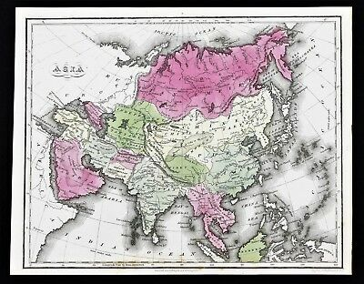 1835 Asia Map Chinese Empire Hindoostan Persia Arabia Tartary Corea Turkey RARE