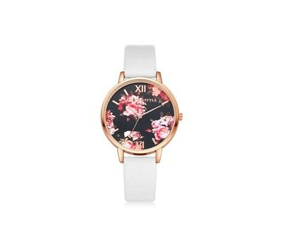 NEW Women's Woman's Girl's Casual Watch Flower Floral Faux Leather Bracelet