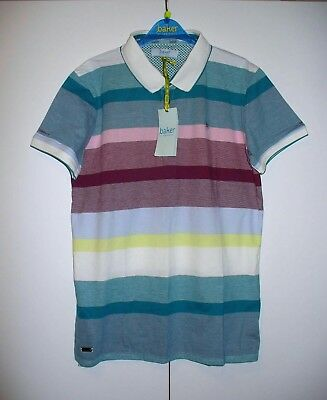 0b9ce440d BNWT Baker By Ted Baker Boys Multi Stripe Polo Shirt Age 9-10 years