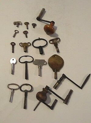 Job Lot Vintage Clock Keys / Winding Cranks Useful Spares For Clock Makers