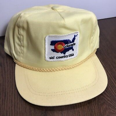 a044a7313da Vintage Colorado Ski Country Hat Cap Rare Imperial Hats Denver Yellow