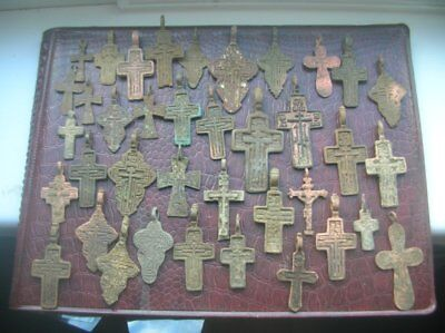 Metal detector finds.Mix lot  ancient crosses (The age of 17-19) N67