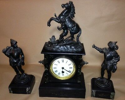 Antique mantel clock with horse on top & 2 separate Spanish figures conquistador