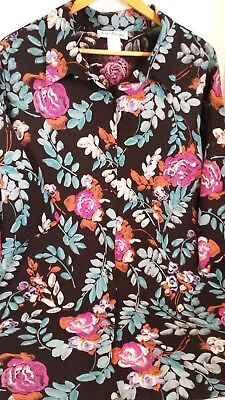 VTG Jeri Marque Floral Rayon Top 3X Black Background Front Button BoHo Style 80s