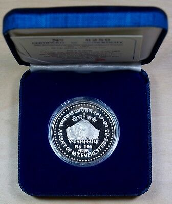 1953 1983 Nepal 100 Rupees Silver Proof Coin 30th Anniv of Everest Ascent - 140