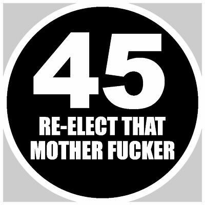 Trump 45 Re-Elect That Mother F*Cker 2020 Black Decal Sticker Maga America First