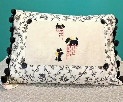 Scottie Dog Embroidered Pillow