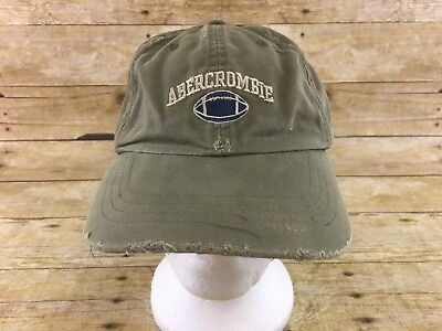 Abercrombie   Fitch Canas Baseball Hat Cap Distressed Green Football  Strapback dd45b67447e