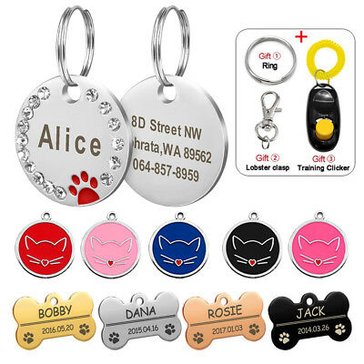 Rhinestone Personalised Dog Tags Bone/Round Puppy Kitty Cat ID Name Collar Tags