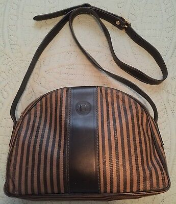 7c9f3723c4ca VTG FENDI COATED Canvas STRIPED CROSSBODY SHOULDER BAG Handbag ...