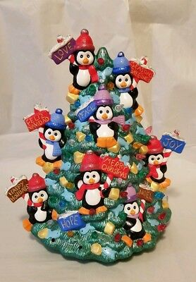 """Ceramic Penguin Christmas Tree 13"""" X 13"""" Painted with Lights"""