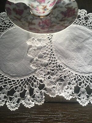 White  Linen And Cotton Crocheted Lace Doilies Pair