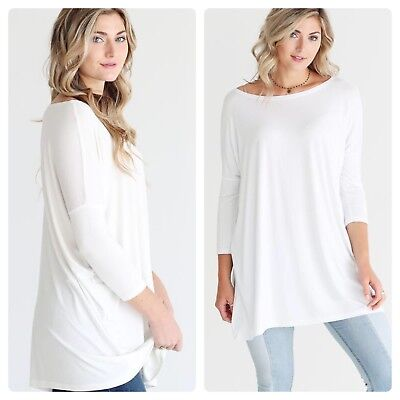 f3b76ad2963 PIKO Women s White 3 4 Dolman Sleeves Bamboo Spandex Tunic Top Large Super  Soft