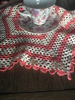 Vintage Handmade Pink Coral & White Cotton Crochet Lace Doily