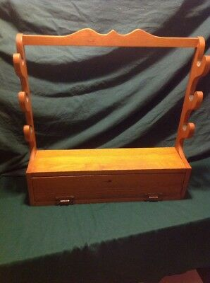 VINTAGE Solid  Oak Wood 3 Gun Rack With Storage Department Without Key