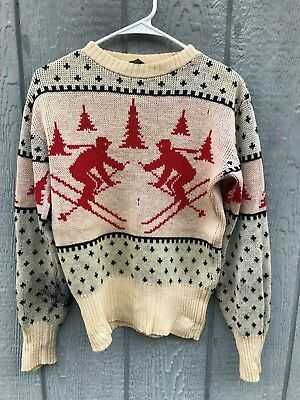 Vintage 1940's 50's JERSILD Snowflake And Skiing Theme Wool Rockabilly Sweater M