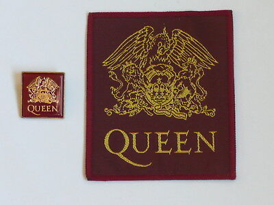 QUEEN - CREST ENAMEL BADGE & PATCH  very rare ...originally from Box of Tricks
