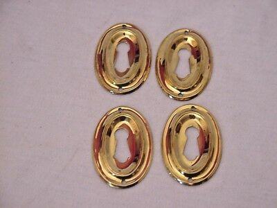 Lot of 4 Antique Brass Furniture Escutcheons Key Hole Covers