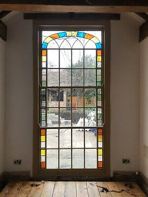 3 Piece Set Stained Glass Sash Window Very Large!