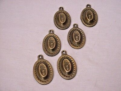Lot of 6 Antique Ornate Brass Swing Style Furniture Escutcheons Key Hole Covers
