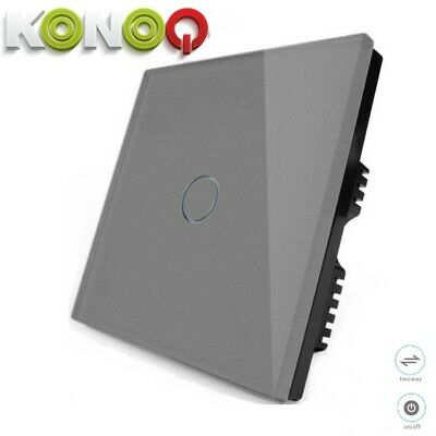 'KONOQ+ Luxury Glass Panel Touch LED Light Smart Switch ON/OFF, Grey,1Gang/2Way